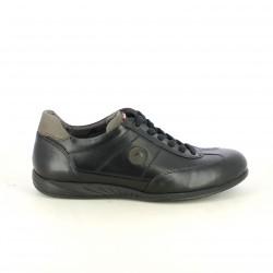 zapatos sport FLUCHOS negros de piel con cordones negros - Querol online