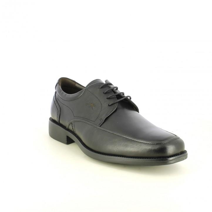 zapatos vestir FLUCHOS bluchers negros de piel - Querol online