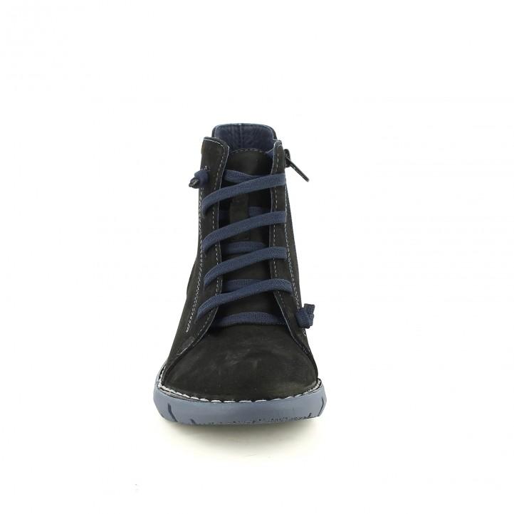 botines planos JUNGLA negros de piel con cordones azules - Querol online