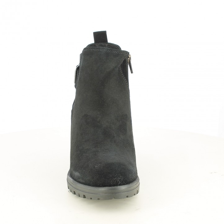 botines tacón REDLOVE negros de serraje con hebillas - Querol online