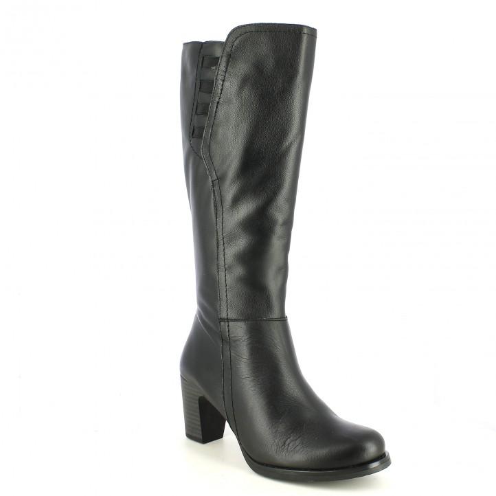 botas tacón SUITE009 negras de piel lisa con gomas - Querol online