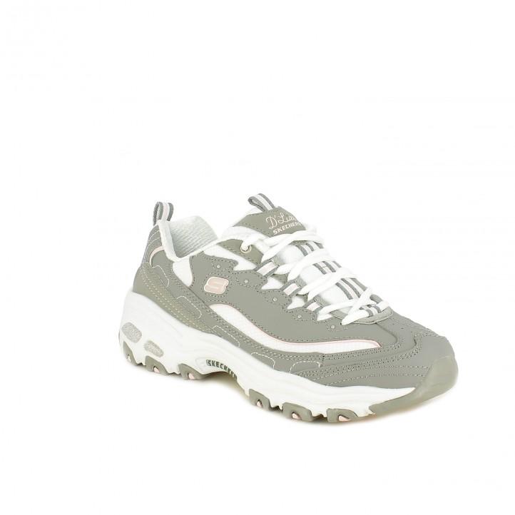 zapatillas deportivas SKECHERS grises, rosas y blancas - Querol online