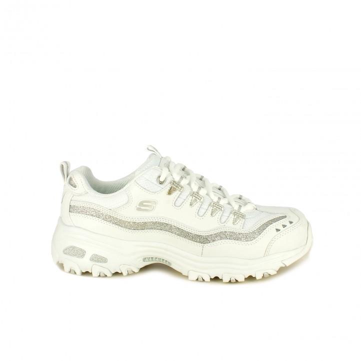 zapatillas deportivas SKECHERS blancas y plateadas - Querol online