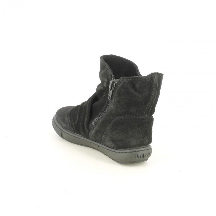 botines VUL·LADI negros de piel con pliegues - Querol online