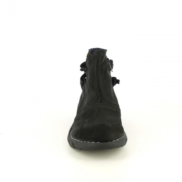 botines planos JUNGLA negros de piel con suela ligera - Querol online