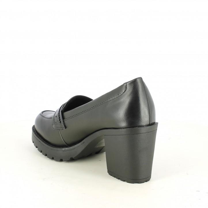 zapatos tacón Mustang mocasines negros - Querol online