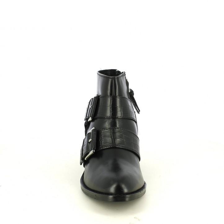 botins de taló GIOSEPPO negres de pell amb sivelles gruixudes - Querol online