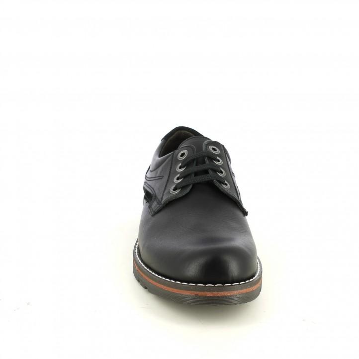 zapatos vestir LOBO negros de piel con hilo blanco - Querol online