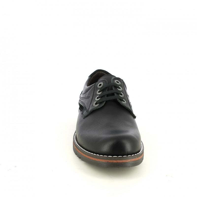Zapatos Vestir Lobo Negros De Piel Con Hilo Blanco
