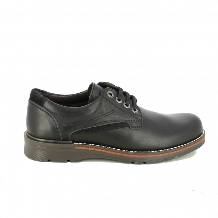 135744eeaf9 zapatos vestir LOBO negros de piel con hilo blanco - Querol online ...