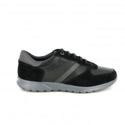 zapatos sport GEOX negros de serraje y piel lisa - Querol online