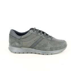 zapatos sport GEOX grises de serraje y piel lisa - Querol online