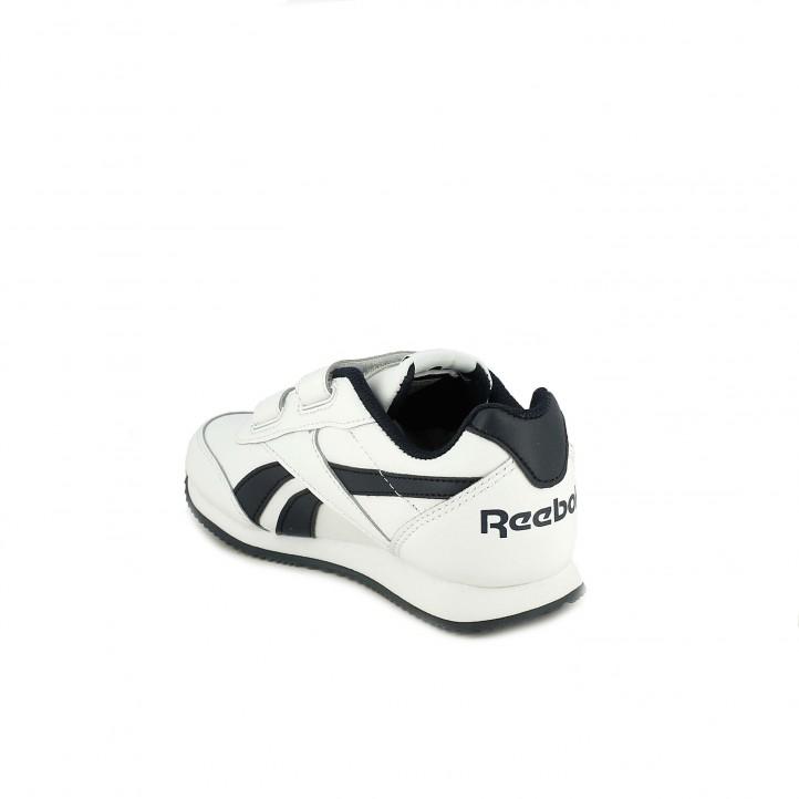 zapatillas deporte REEBOK blancas y azul marino de piel - Querol online