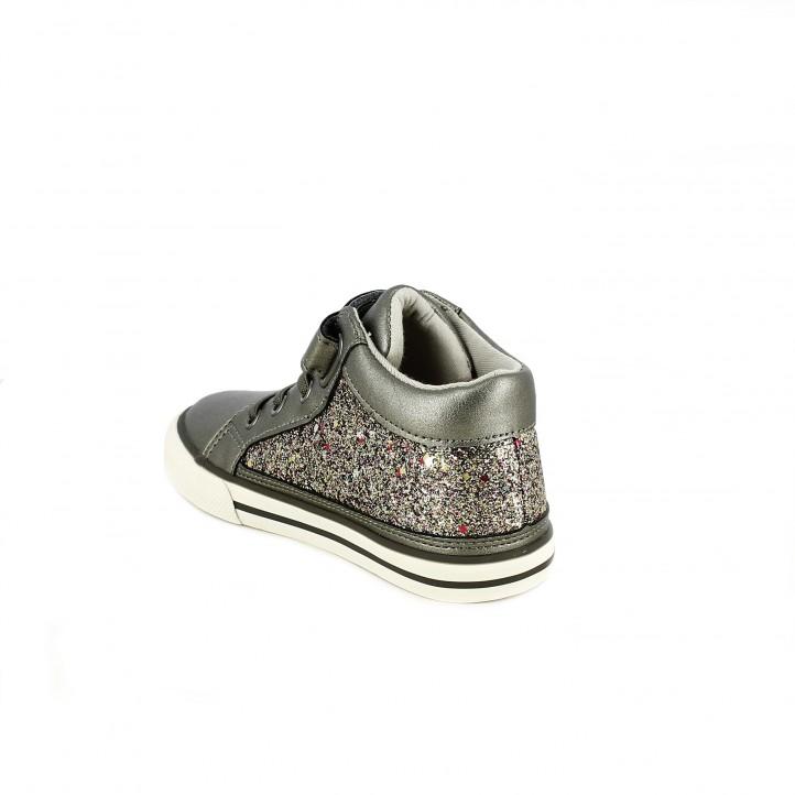 zapatillas lona CHICCO plateadas con purpurina - Querol online