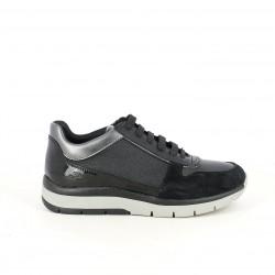 zapatillas deportivas GEOX negras de piel con purpurina - Querol online