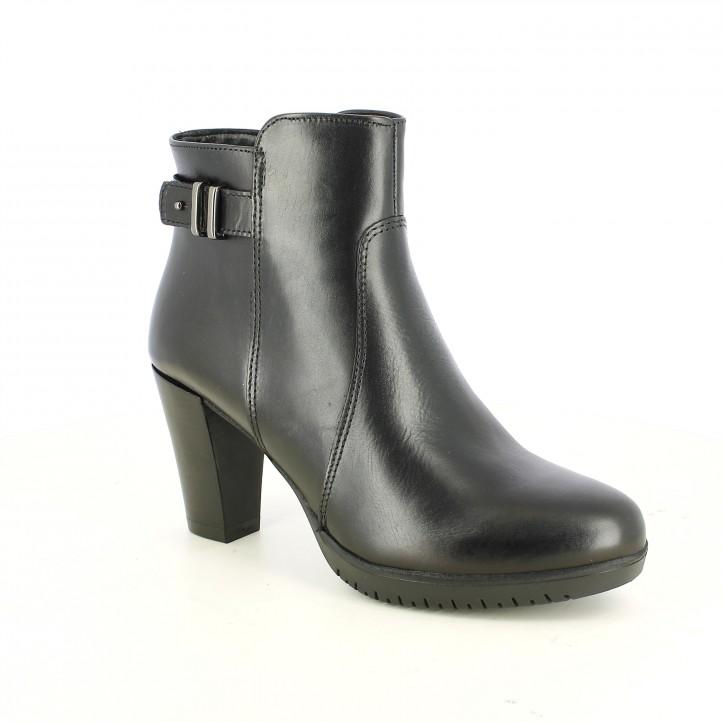 botins de taló TAMARIS negres de pell amb sivella platejada - Querol online