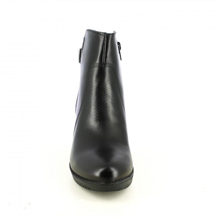 botines tacón TAMARIS negros de piel con hebilla plateada - Querol online