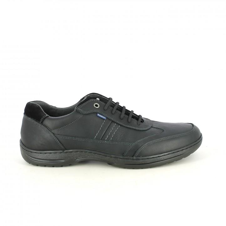 zapatos sport NUPER negros de piel lisa y serraje - Querol online