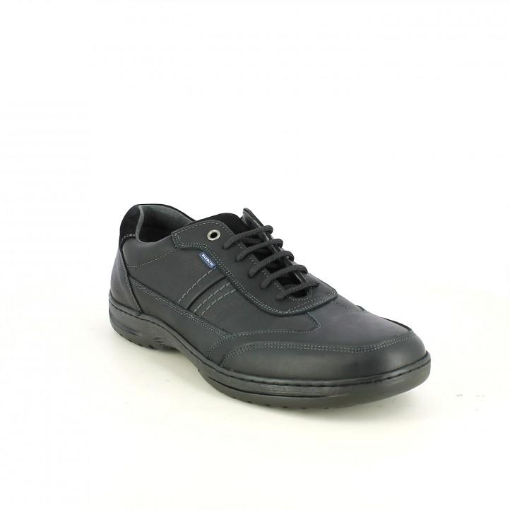 sabates sport NUPER negres de pell llisa i serratge - Querol online