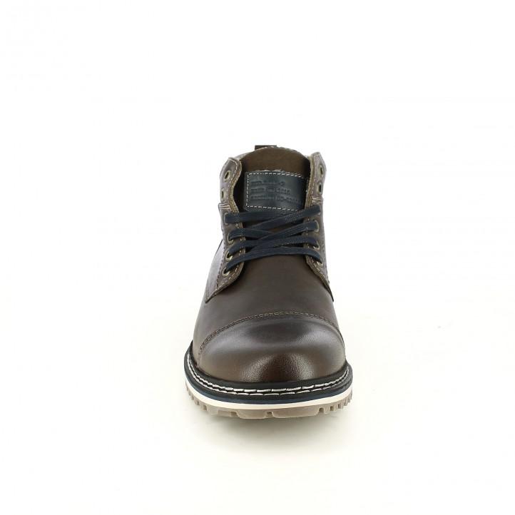 botins LOBO marrons de pell amb cordons blau marí - Querol online