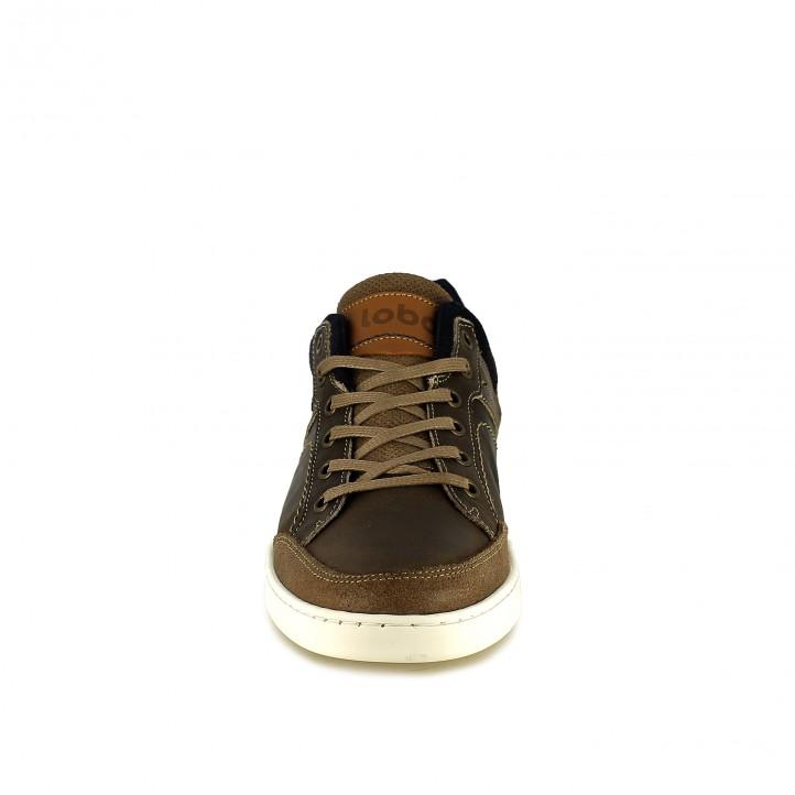 zapatos sport LOBO marrones y azules con animal print - Querol online