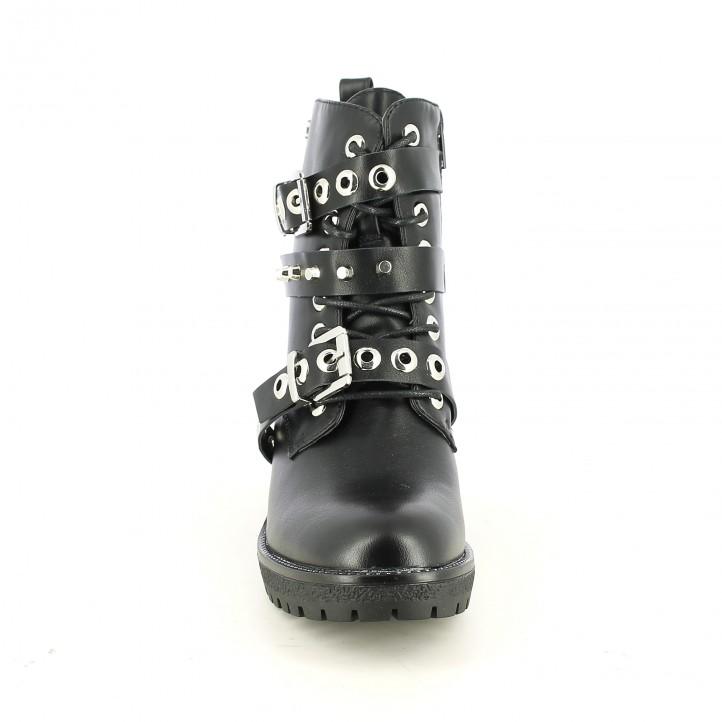 botines tacón REFRESH FOOTWEAR negros con tachuelas, hebillas y cordones - Querol online