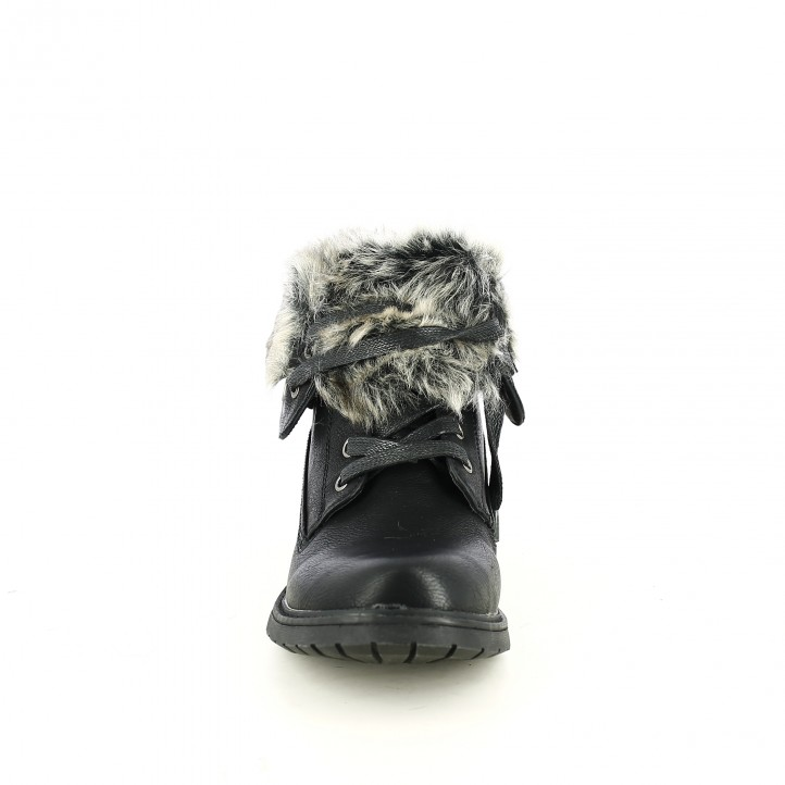 botines tacón REFRESH FOOTWEAR negros con pelo y cordones negros - Querol online