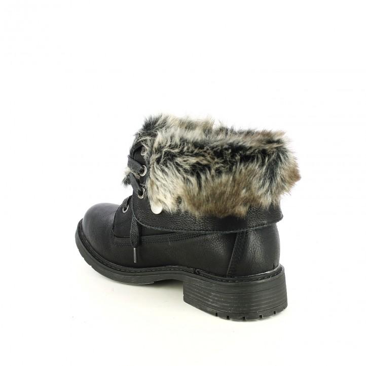 botins de taló REFRESH FOOTWEAR negres amb pèl i cordons negres - Querol online