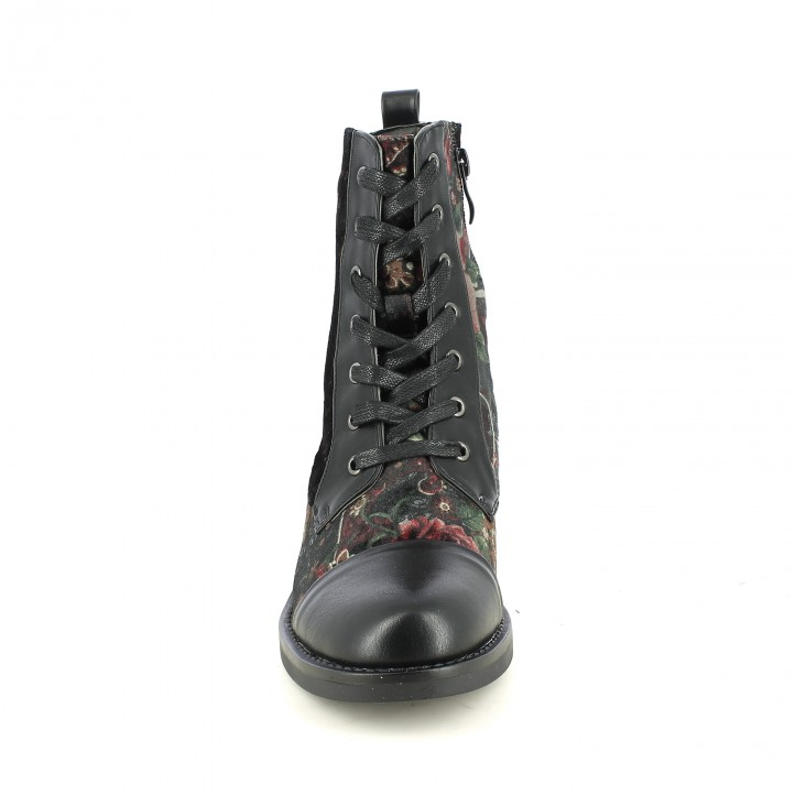 botins de taló D'ANGELA negres i amb flors - Querol online