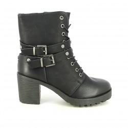 botins de taló OWEL negres amb sivelles i cordons - Querol online