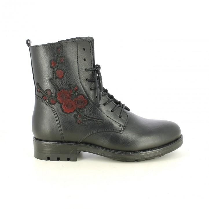 botins de taló REDLOVE negres de pell amb flors vermelles - Querol online
