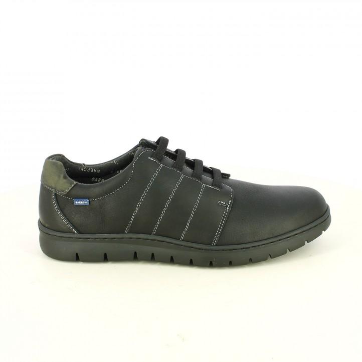 zapatos sport BAERCHI negros piel con cordones elásticos - Querol online