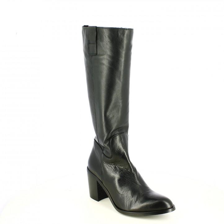 botas tacón REDLOVE negras de piel con cremallera - Querol online