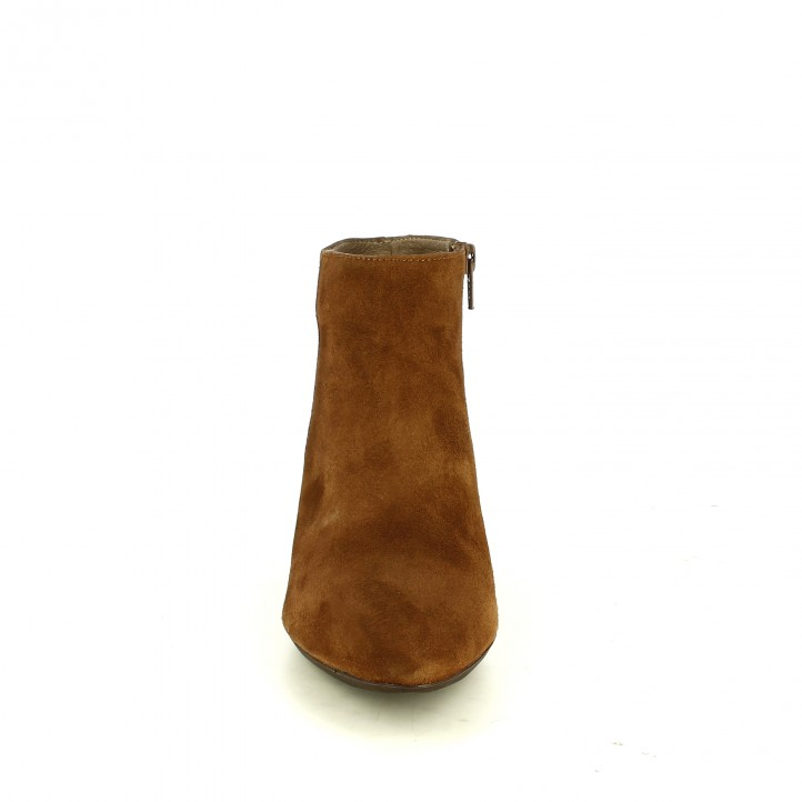 botines tacón WONDERS marrones de piel con tacón estampado - Querol online