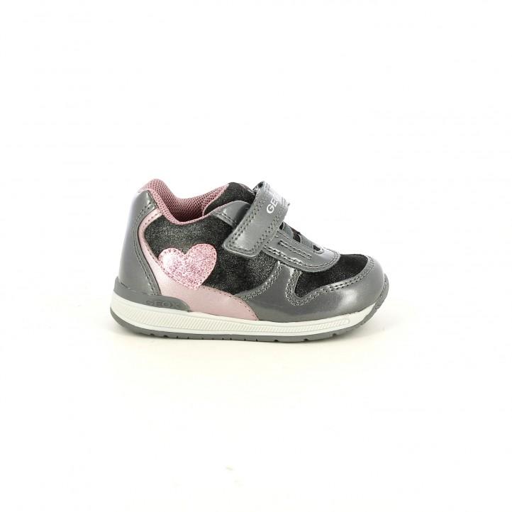 Zapatillas GEOX grises con corazones - Querol online