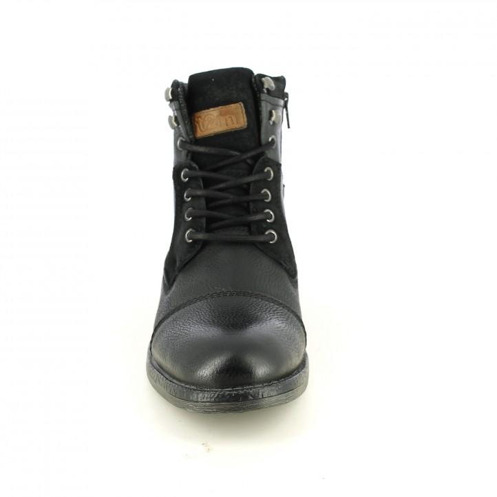 botines T2IN negros de piel con cordones y cremallera - Querol online