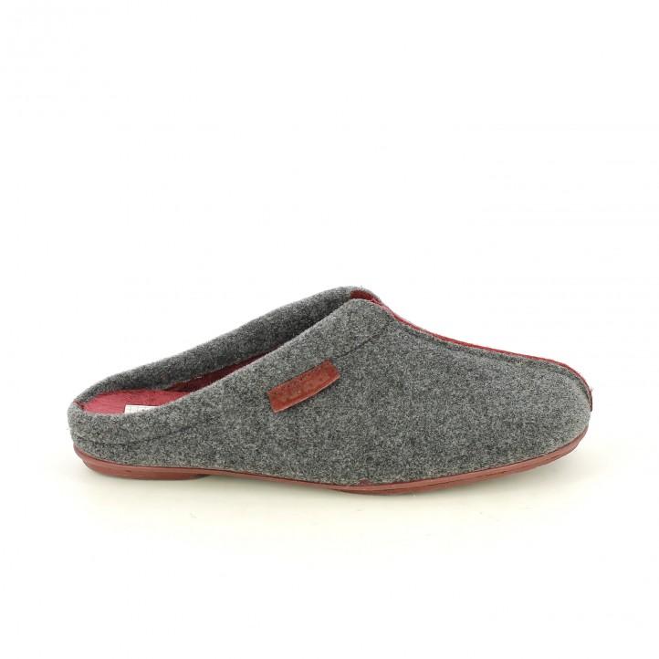 zapatillas casa VUL·LADI grises y burdeos - Querol online