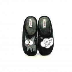 zapatillas casa VUL·LADI negras oh my cat - Querol online