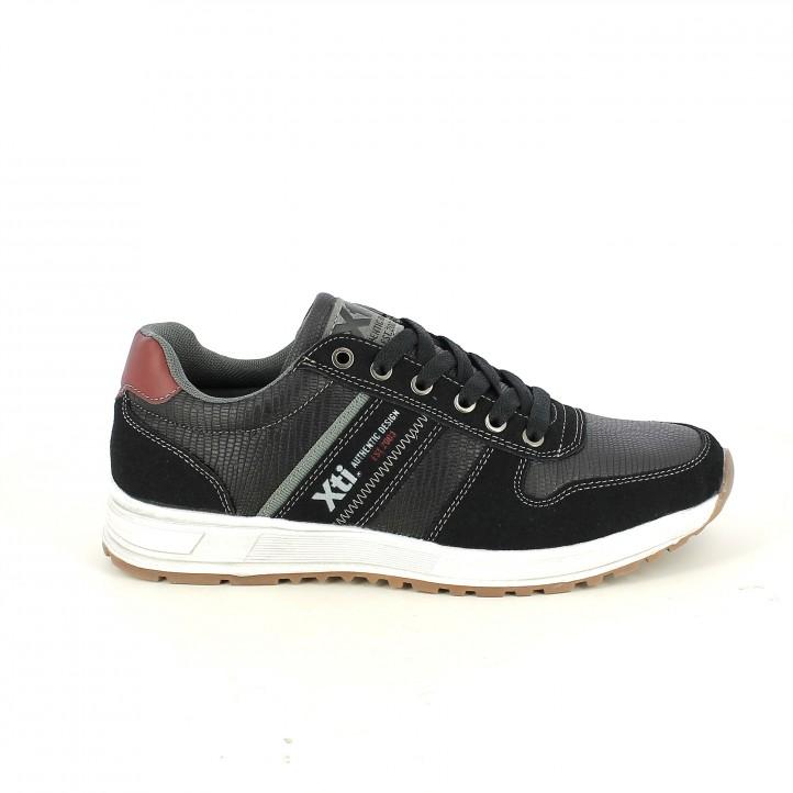 zapatos sport XTI negros con animal print - Querol online