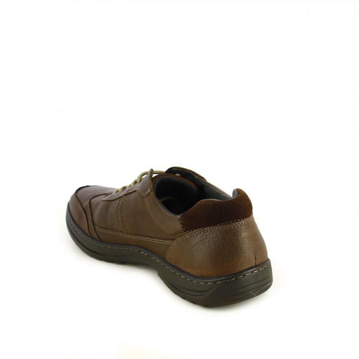zapatos sport NUPER marrones de piel lisa y serraje - Querol online