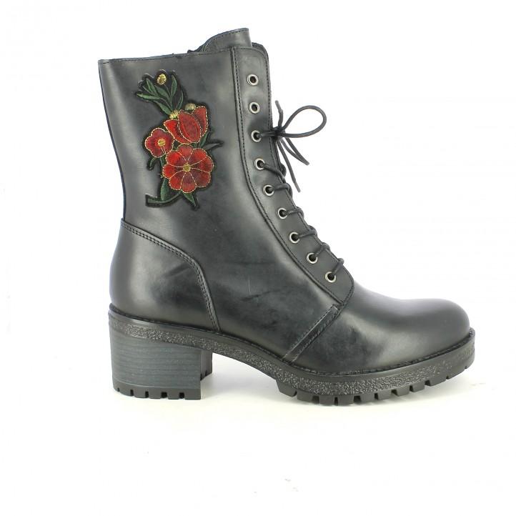 botins de taló REDLOVE negres amb cordons i flors - Querol online