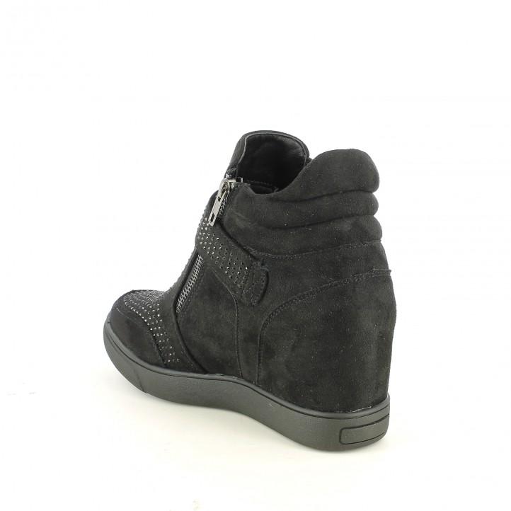 zapatillas deportivas OWEL negras con brillantes y cuña interior - Querol online