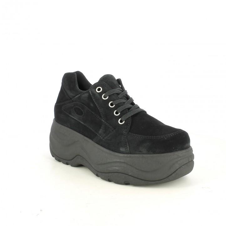 zapatillas deportivas OWEL negras de serraje con plataforma - Querol online