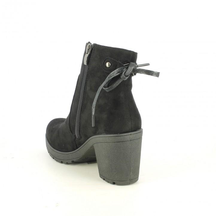 botins de taló OWEL negres amb llaç - Querol online
