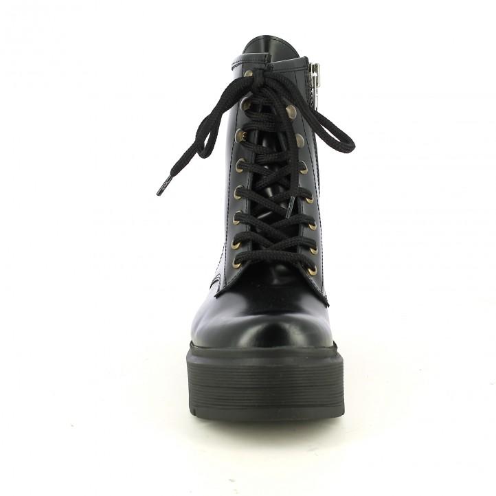 botines tacón OWEL negros de piel con plataforma - Querol online