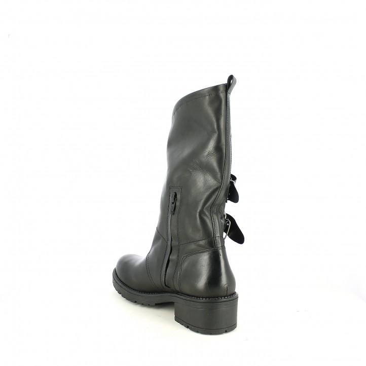 botas tacón OWEL negras de piel con tres hebillas - Querol online