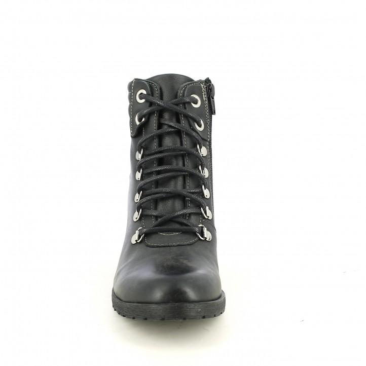 botines tacón REDLOVE negros de piel lisa y con cordones - Querol online