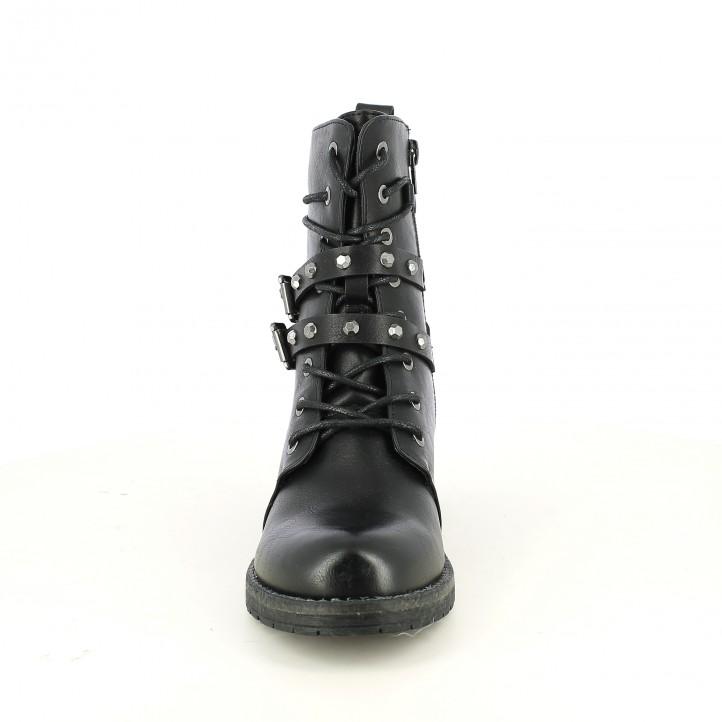 botines tacón YOU TOO negros de piel con tachuelas y cordones - Querol online