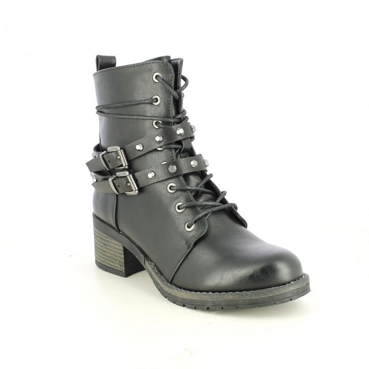 botins de taló YOU TOO negres de pell amb tatxes i cordons - Querol online