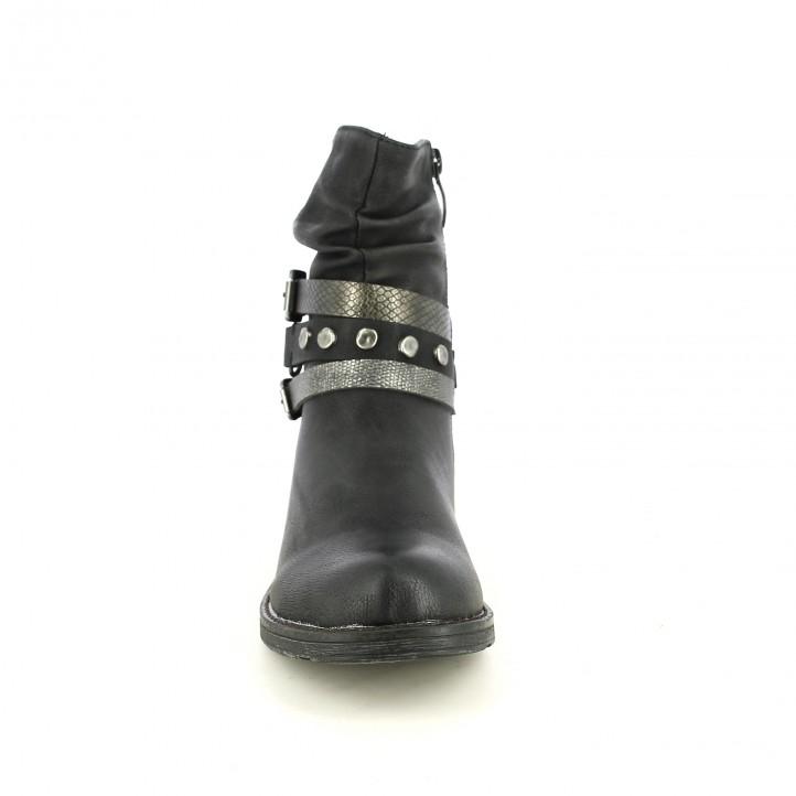 botins de taló YOU TOO negres amb cintes animal print - Querol online